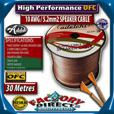 10awg Gauge AWG 30M High End 5.2mm2 100% Ultra Pure OFC Audio Cable Speaker Wire