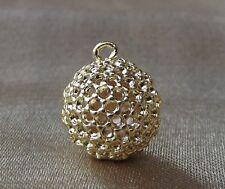 Pendentif nid d'abeille boule plaqué or, doré 14mm