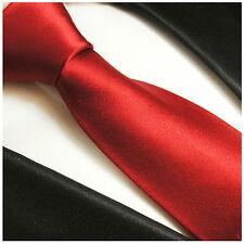 Paul Malone Krawatte rote einfarbige Seidenkrawatte (Normal- & Extralang) 982