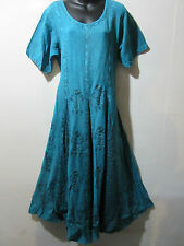 Dress Fits 1X 2X  Plus Turquoise Embroidery Flared Pleated Lace Hem NWT G227