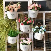 Hanging Flower Pot Balcony Garden Fence Plant Metal Iron Planter Basket Decor