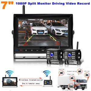 """9-35V 7"""" Digital Reversing 1080P Split Monitor + Backup Camera Record Video DVR"""