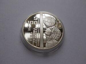 """Mexiko, 100 $ 1985 """"Fußball WM 1986"""" 925er Silber """"PP in Kapsel"""" #MÜ051"""