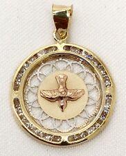 14k Solid Gold Dove Spirit Bird Espiritu Santo Round Charm Pendant Medal 18MM