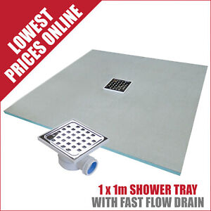 Showerlay Wetroom Shower Tray With Free Fast Flow Drain 1x1m