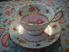 VINTAGE GROSVENOR BONE CHINA TEA CUP & SAUCER DRESDEN FLOWERS PINK EXC