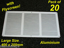 20 Pack Aluminium Air Vent 400 x 200mm White with Flyscreen - eave ventilation