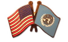 United Nations Friendship with US Flag Lapel Pin
