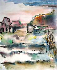 "Curt Wittenbecher 1901-1978 / Aquarell ""Hveragerdi (Island)"" 1972 signiert"