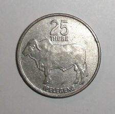 Botswana 25 thebe, Zebu Bull Cow animal wildlife coin