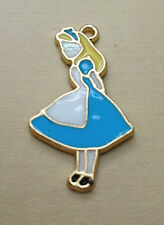 Alice In Wonderland Gold Colour Necklace Charm In Blue Lolita Gift 2cm x 3.25cm
