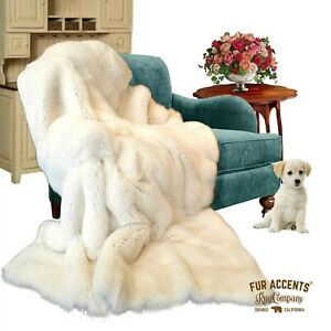 Thick Faux Fur Throw Blanket, Bedspread, Comforter, White Bunny Fur, Minky Lined