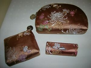 YANS NY Cosmetic Bag, Change Purse, Lipstick Holder, Oriental Fabric Make-up Bag