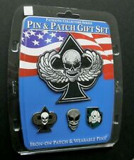 Skull Death Wings Ace Spades Pin n Patch display Set of 3 pins and 1 patch