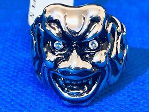 Stephen Webster Sterling Silver Japanese Warrior Mask W/ Diamond Eyes Size 10