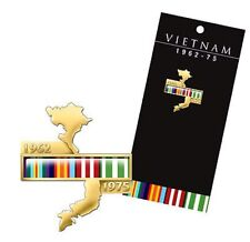 Vietnam Map Lapel Pin with Campaign Ribbons *  *Vietnam Vetrans Day Aug 18th