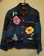 JULIA KIM WOMEN'S MULTI-COLORED JACKET Blazer Navy fringe embroidery sequins M