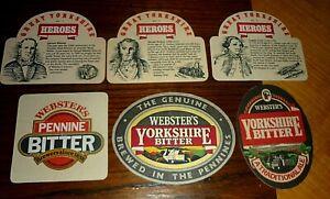 Collectable beer coasters: Set of 6 Websters beer coasters (UK)