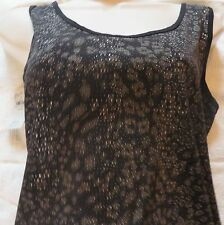 BUKCLE BKE SCOOP NECK FITTED BEATER Animal Print Textured Black Large NWT