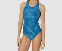 $198 Carve Designs Women Blue Stretch Round Neck Dahlia One-Piece Swimsuit M