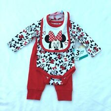 NWT Disney Baby Girls' Minnie Mouse 3 Pc Bodysuit, Bib and Pant Set 0/3 m Soft
