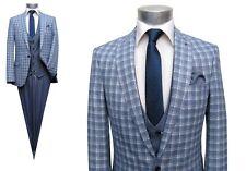 Herren Anzug Glencheck mit Weste Gr.52 Blau