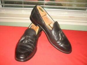 MEN'S ALDEN NEW ENGLAND BLACK LEATHER TASSEL LOAFER SHOES sz 13 , EU 48 , UK 12