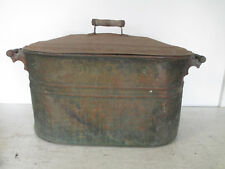 "Vintage Rochester Large Copper Tub w/Lid & Wooden Handles, 22"" x 12"" x 12"""