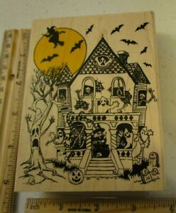 HAUNTED HOUSE WITCH FLYING MW RUBBER STAMP- RUBBER STAMPEDE