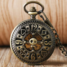 Retro Poker Hollow Skull Copper Automatic Mechanical Men Pocket Watch Chain Gift