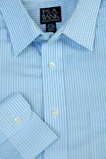 Jos A Bank Men's Travelers Light Blue Bengal Stripe Cotton Dress Shirt 16.5 x 33