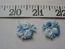 "7080 APPLIQUES Tri Flower Rose Bud Medium Light Blue White  6/8"" 36 Pcs"