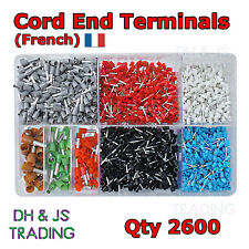 Assorted Box of Cord Ends (French) 0.5mm - 10.0mm Qty 2600 Ferrules Bootlace