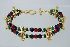 Egyptian Bastet Bracelet Carnelian, Sodalite & Turquoise Beads with 6 Cat Charms