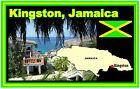 Kingston,JAMAÏQUE CARTE & DRAPEAU - Souvenir Nouveauté Aimant de réfrigérateur -