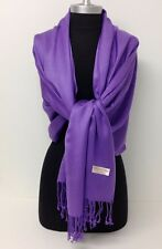 NEW Women Soft PASHMINA SILK Cashmere Wool SHAWL Scarf Stole WRAP Solid Purple