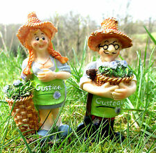 2er-Set Gärtner und Gärtnerin Gartenfigur Deko Balkon Gartendeko Frühling Ostern