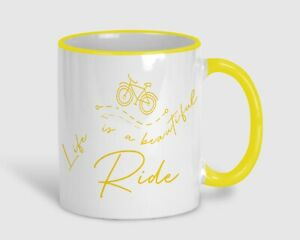 Life Is A Beautiful Ride Cyclist Bike Personalised Yellow Mug Gift