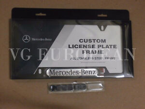 Mercedes-Benz Genuine BLACK Stainless Steel License Plate Frame NEW