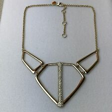NEW Alexis Bittar Crystal Geometric Crystal Gold Frontal Triangle Necklace $195