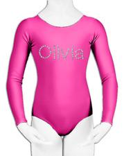 Personalised PINK LYCRA Black Dance Leotard Gymnastics Glitter Birthday Gift