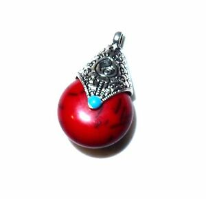 1 x 38x22mm tibetan silver and red color beeswax pendant ONLY, save free post