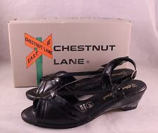 Vintage Ladies' Size 8.5 N Black Patent Leather Sling Back Open Toe Sandals
