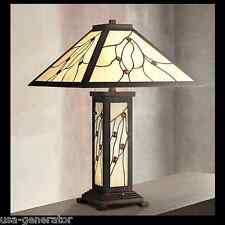 Mission Table Lamp 2 Light Plus Nightlight Lit Tiffany Style Stained Art Glass