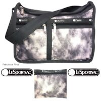 LeSportsac Pitch Purrfect Deluxe Everyday Bag + Cosmetic Bag Kitty Cat Fur Look