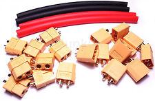 Xt60 Conectores De 10 Pares Con heatshrink Nuevo vendedor de Reino Unido CALOR SHRINK Gold Bullet