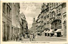 uralte AK, Halle an der Saale, Leipzigerstraße mit Leipziger-Turm