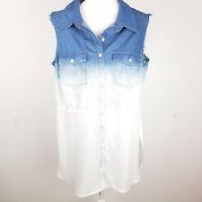 City Chic Sleeveless Tunic Button Front Plus Medium Blue White Collared Womens