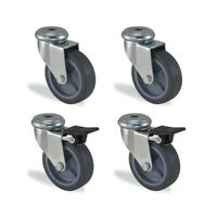 Lot roulettes à oeil pivotante et pivotante à frein caoutchouc gris diamètre ...