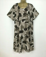NEW Dress Lagenlook Shift Floaty Brown Mocha Print Womens Plus Size UK 22 24